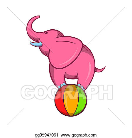 Balancing on a icon. Clipart elephant ball