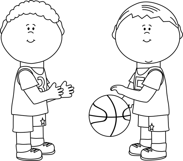 Girls clipart basketball player. Black and white boys