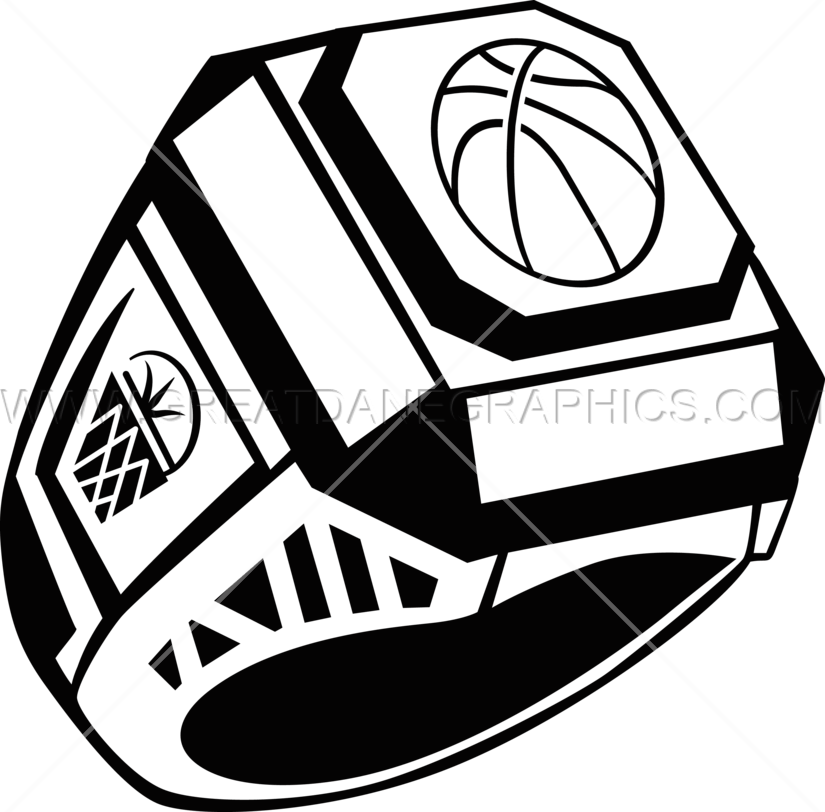 Ring production ready artwork. Clipart shield basketball
