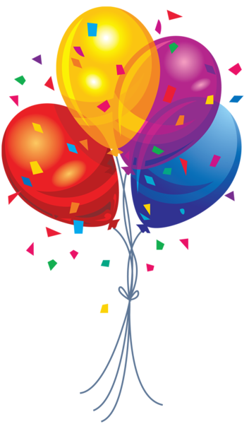 Transparent multi color balloons. Clipart balloon