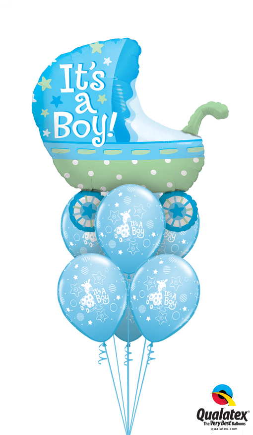 Get Baby Boy Pram Helium Balloons Delivered to your choice of venue
