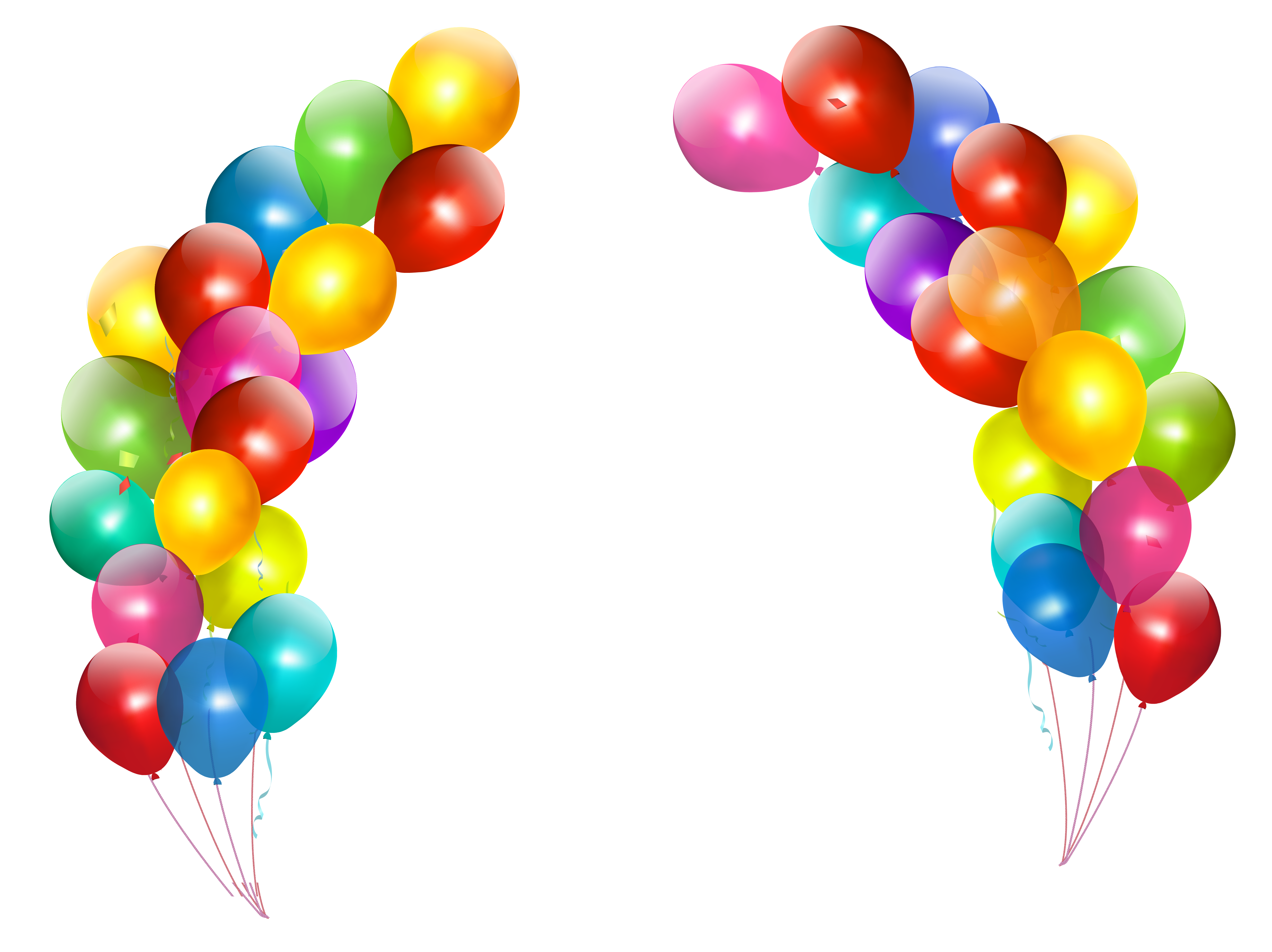 Colorful balloons decor transparent. Festival clipart bunting