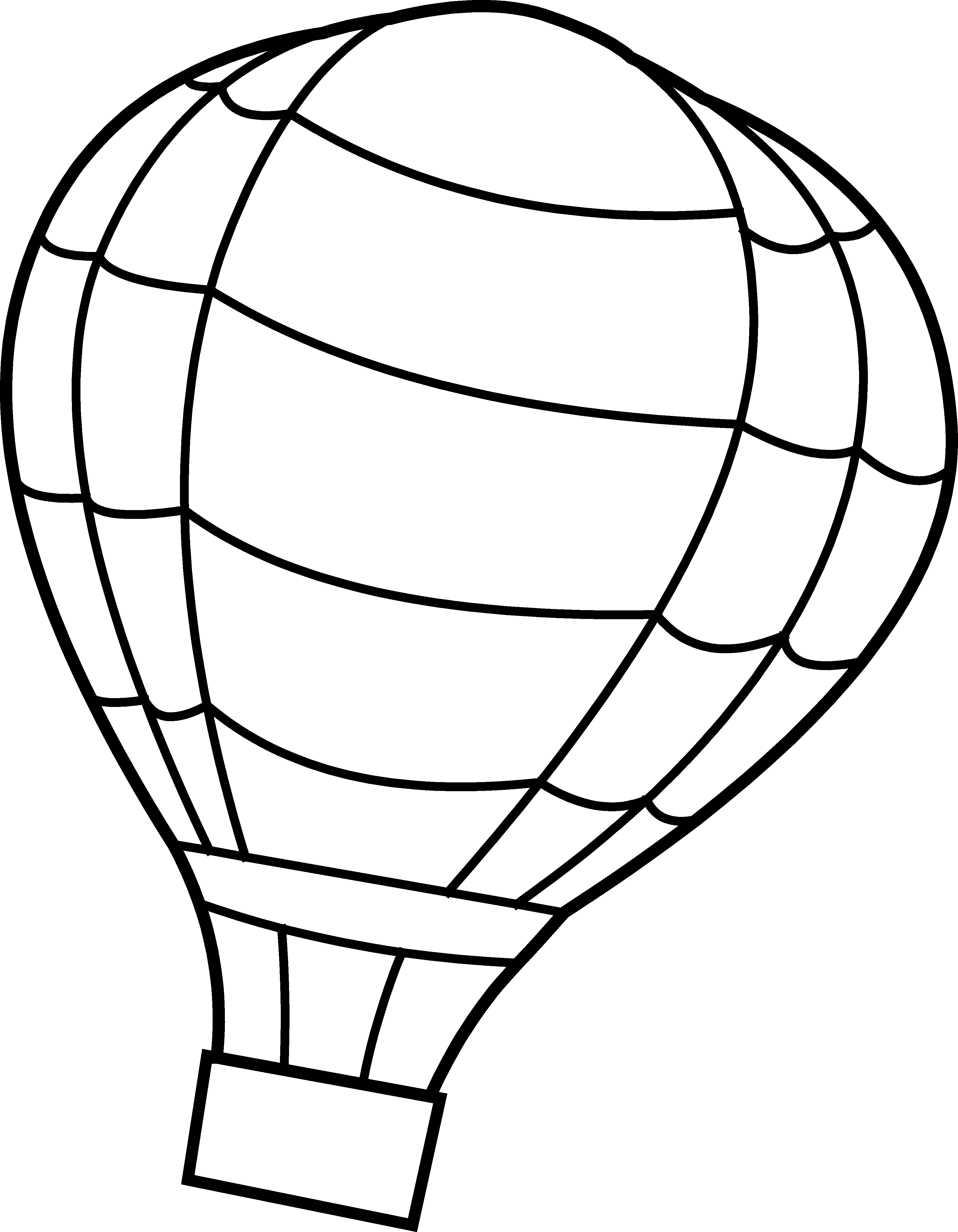 Clipart balloon basket. Hot air coloring page