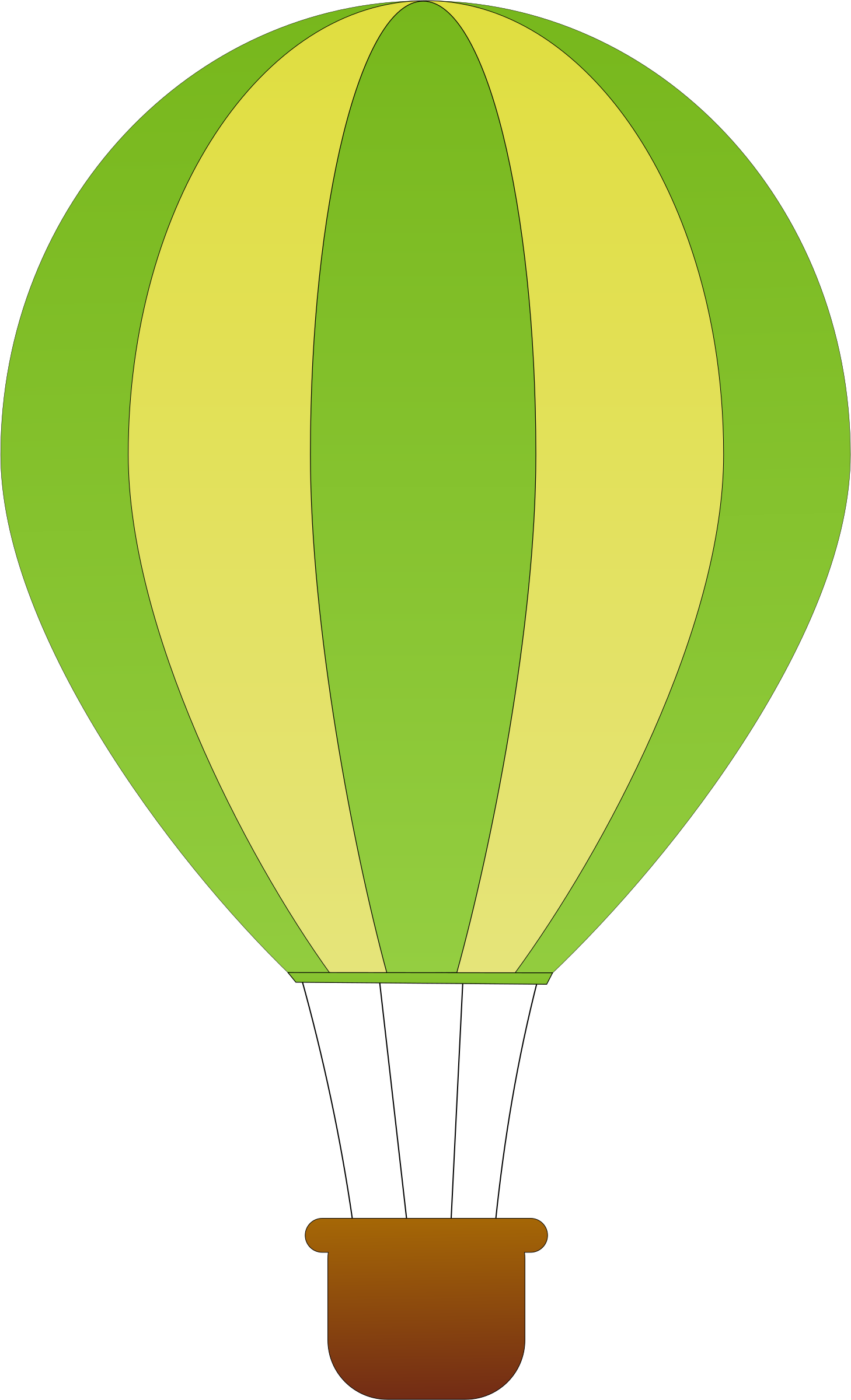 Vertical hot air balloons. Number 1 clipart striped