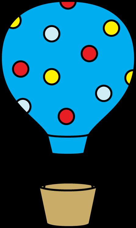 Clipart balloon basket. Colorful polka dot hot