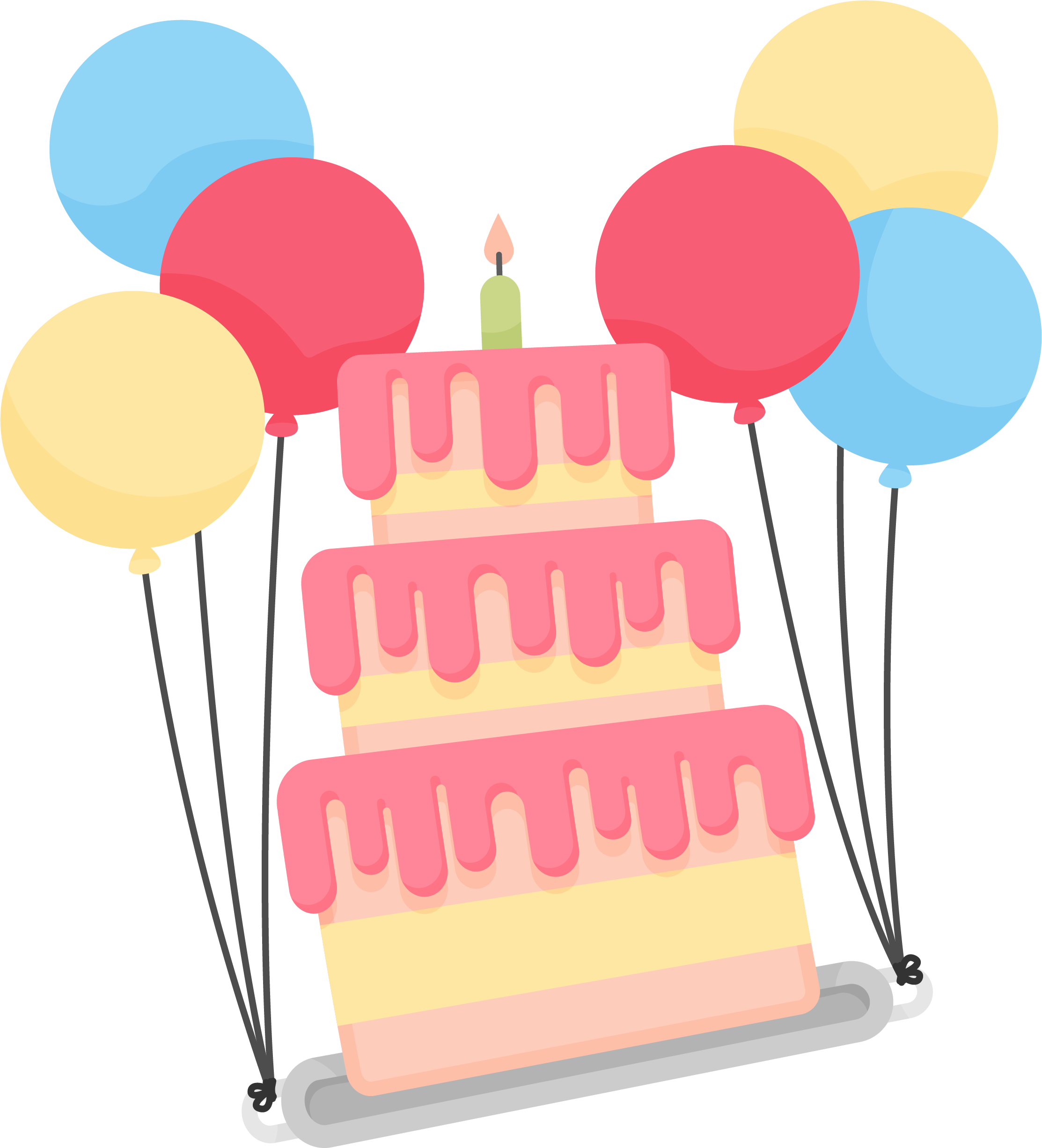 Torta clip art decoration. Clipart balloon birthday cake