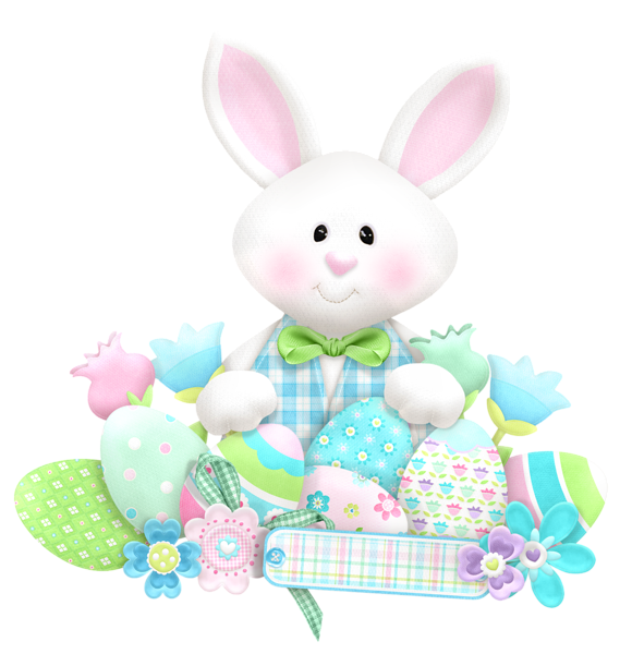 Garden clipart easter. Cute bunny with eggs