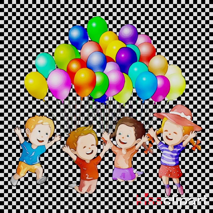 Kids playing cartoon illustration. Clipart balloon child