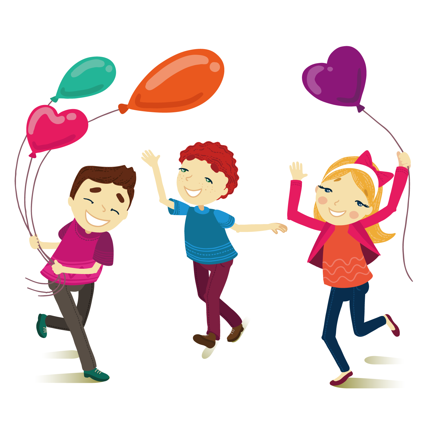 Cartoon illustration friends playing. Clipart balloon child