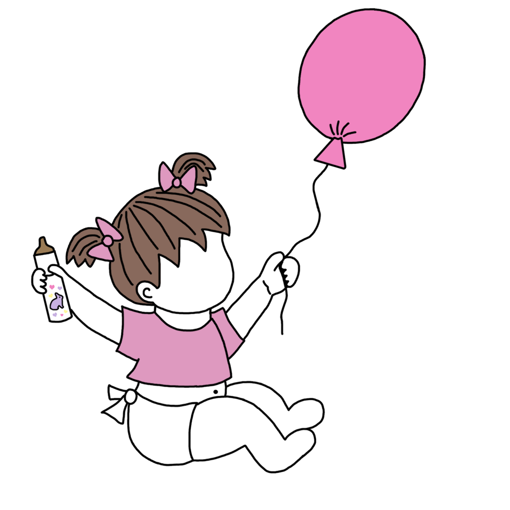 Adoption announcements with balloons. Ladybug clipart baby girl