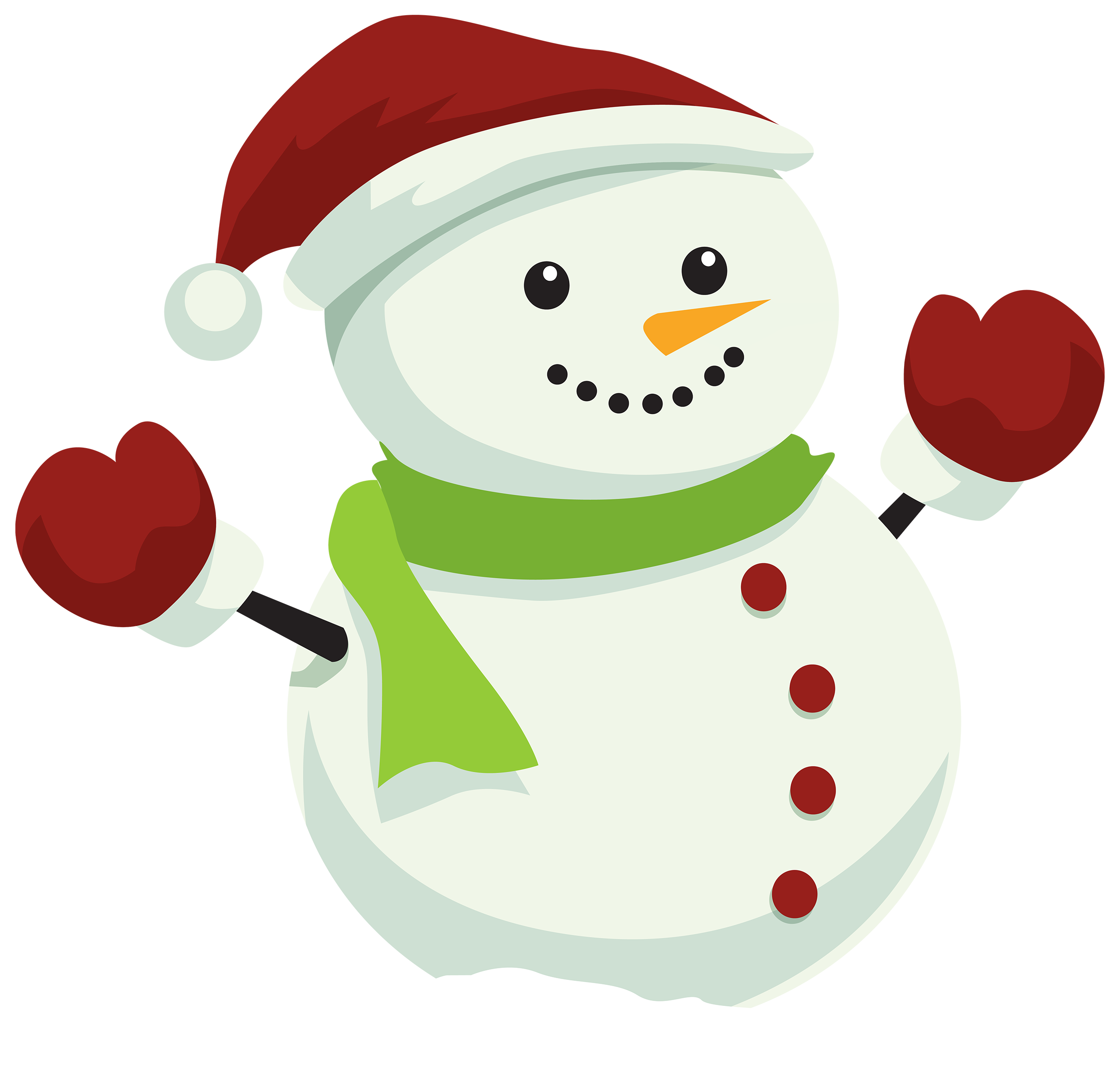 Snowman with christmas hat. Mittens clipart elf