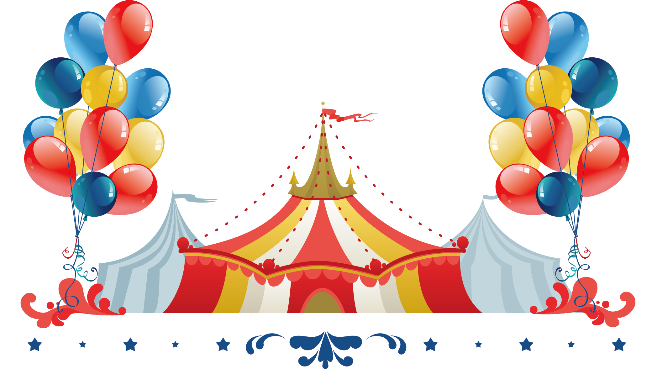 Performance cartoon tents posters. Clipart balloon circus