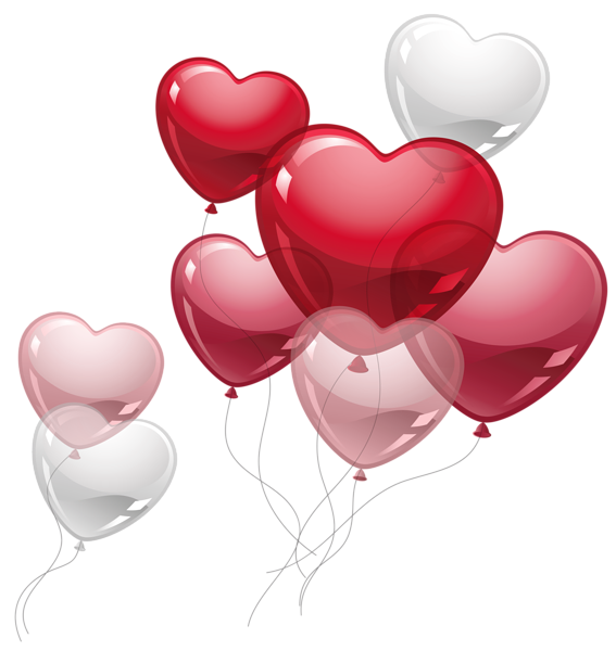 Cute balloons png picture. Clipart birthday heart