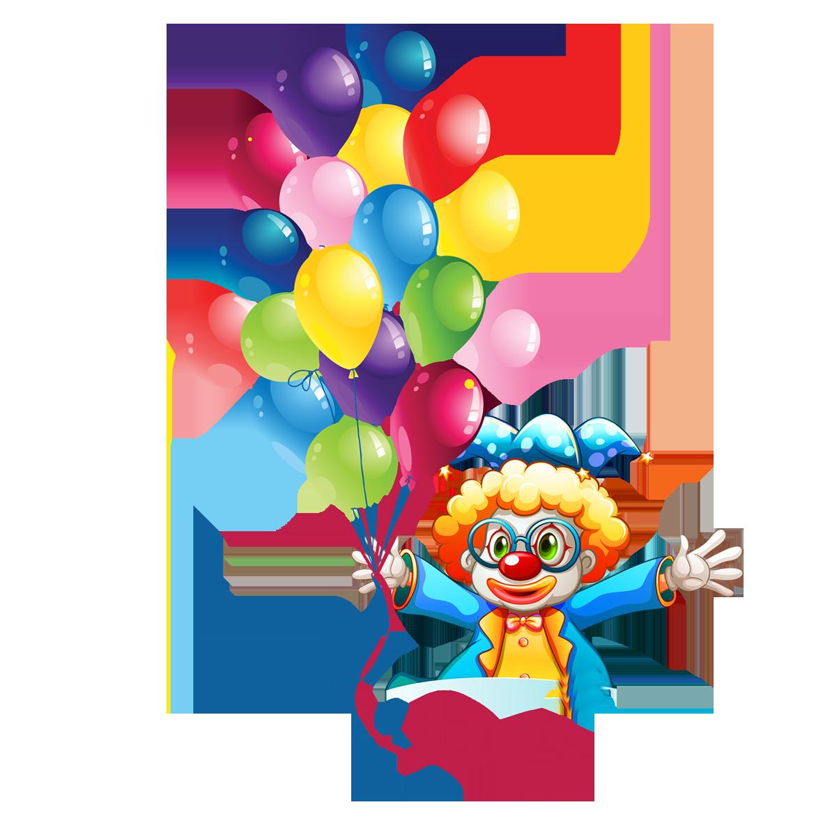Clipart balloon clown. Birthday cake party clip