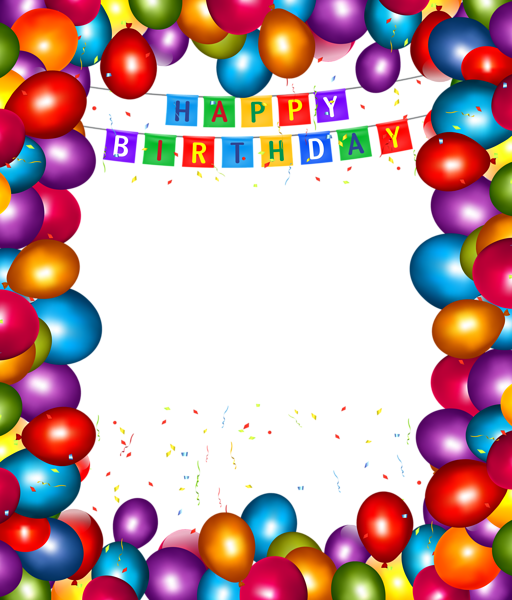 Happy birthday transparent balloons. Clipart balloon frame