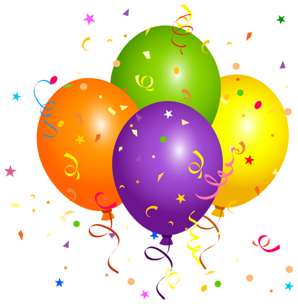 Balloons with confetti png. Surprise clipart balloon