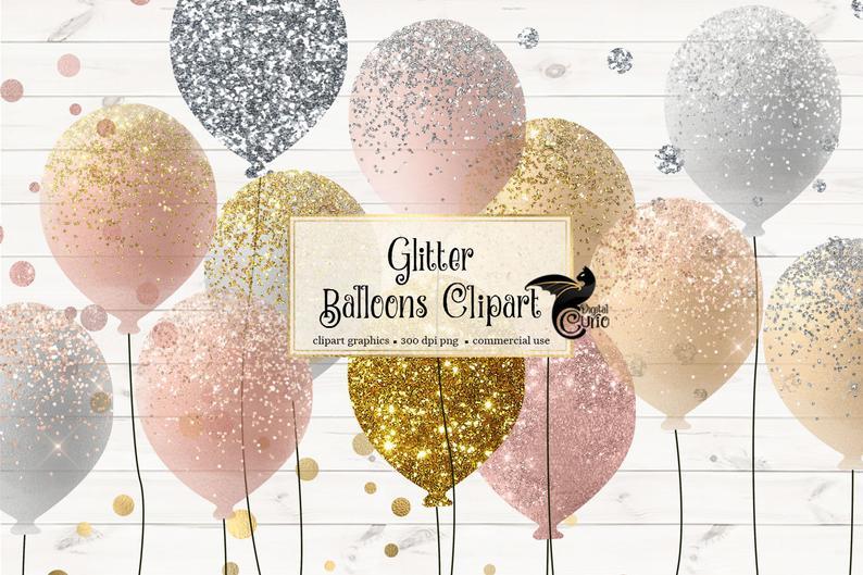 Balloons oro rosa y. Clipart balloon glitter