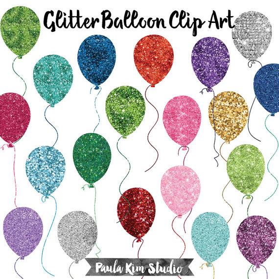 Clipart balloon glitter. Birthday clip art