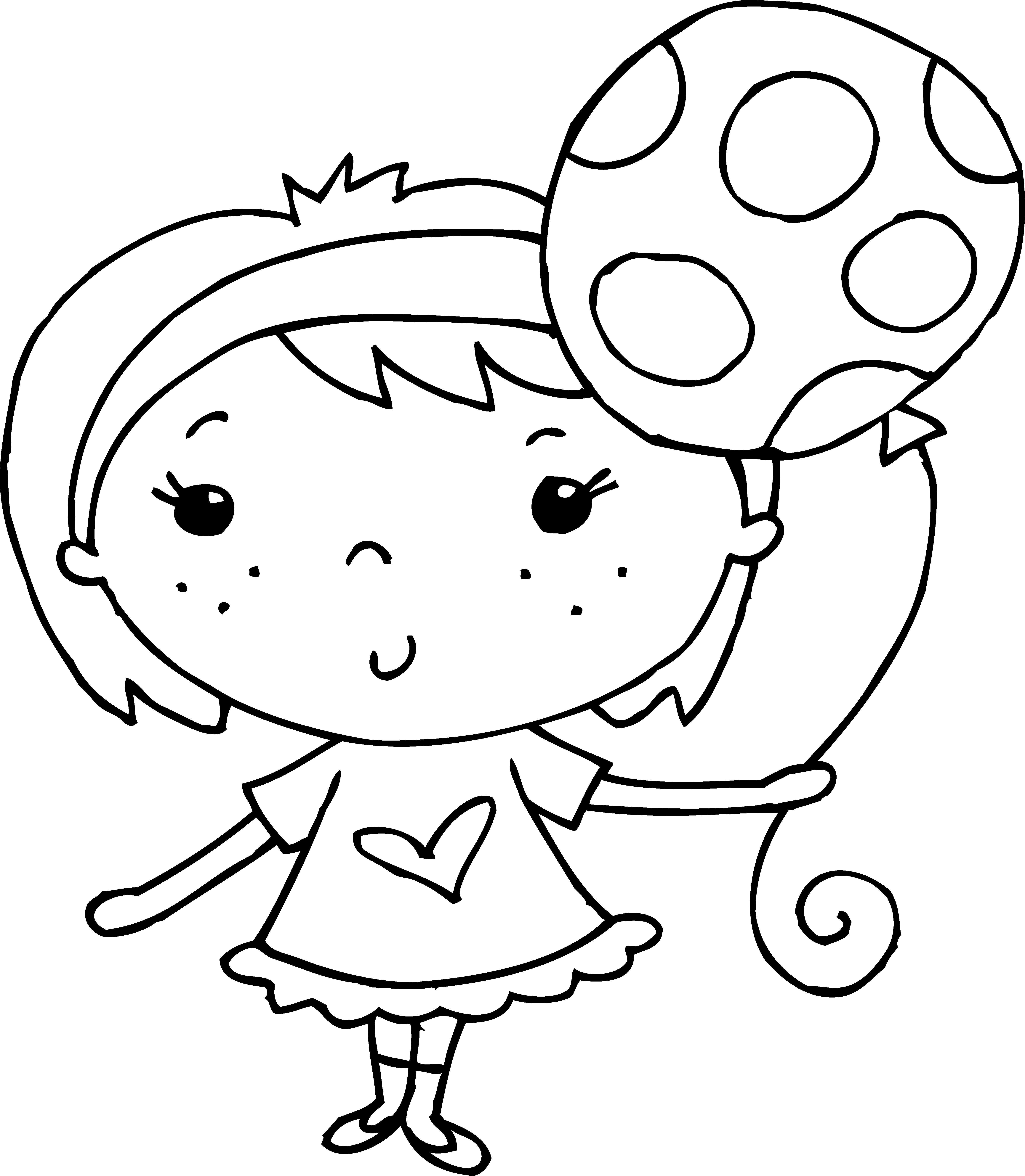 Clipart balloon head. Coloring page of girl