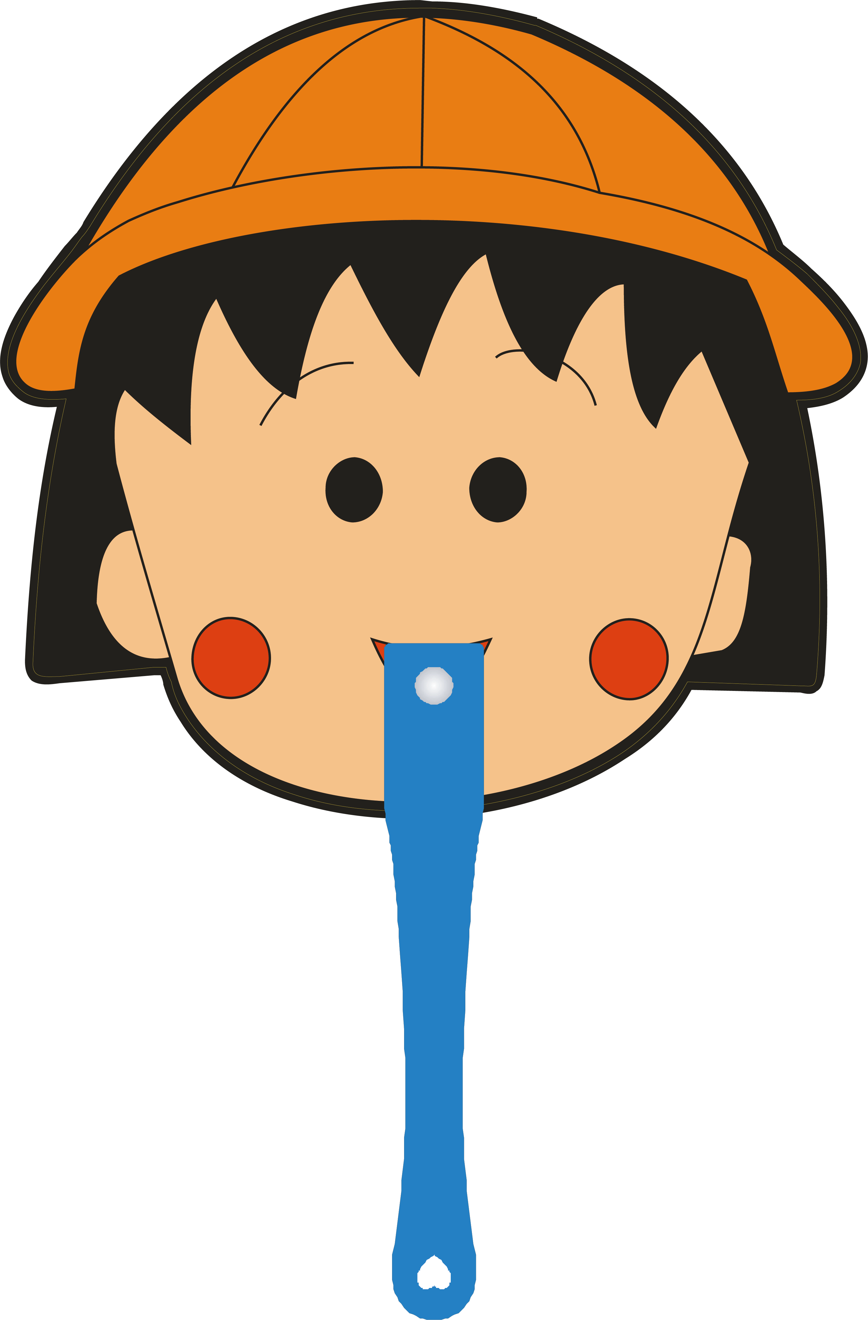 Chibi maruko chan cartoon. Clipart balloon head