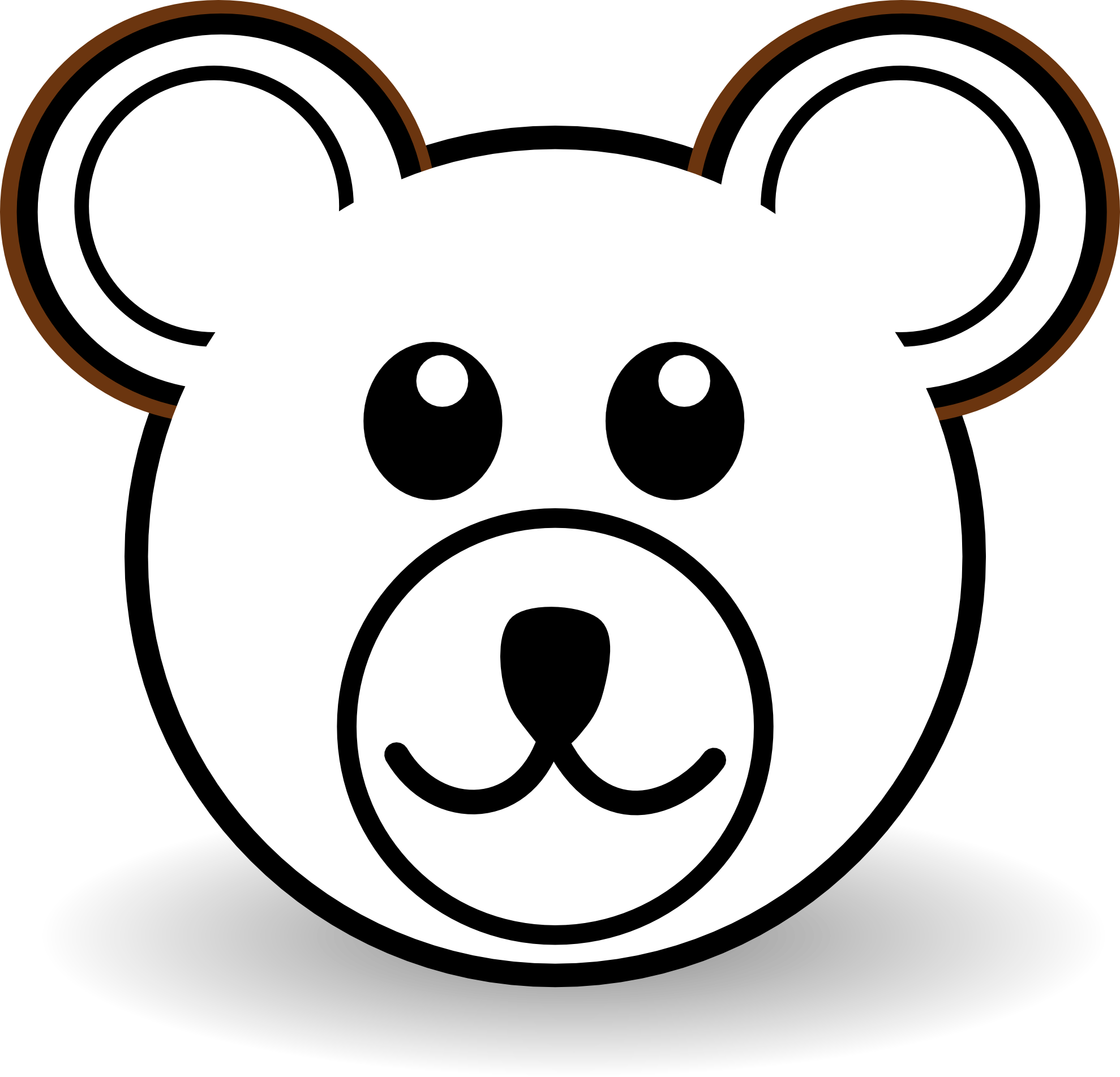 Head clipart black bear. Cartoon brown white line