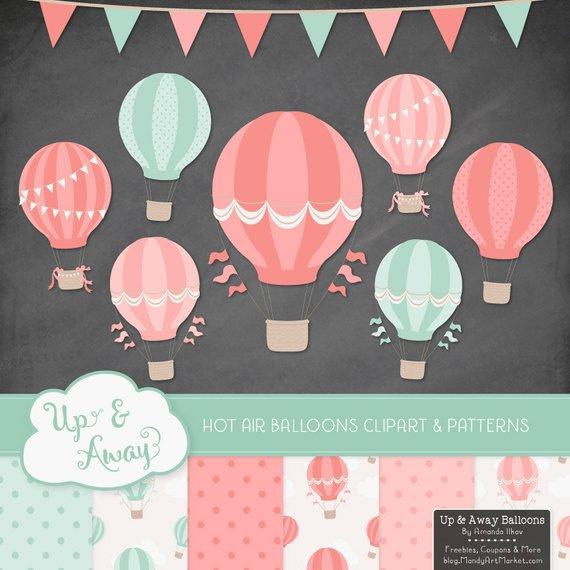 Coral hot air balloons. Clipart balloon mint