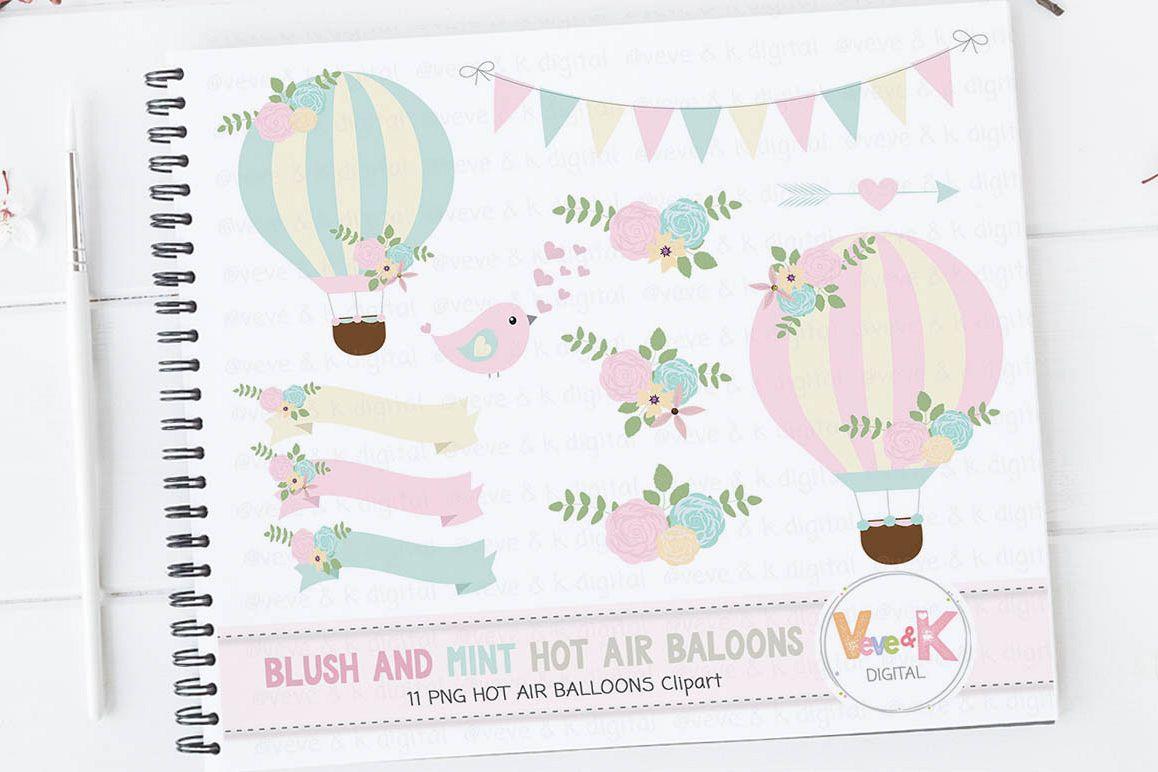 Clipart balloon mint. Hot air balloons blush