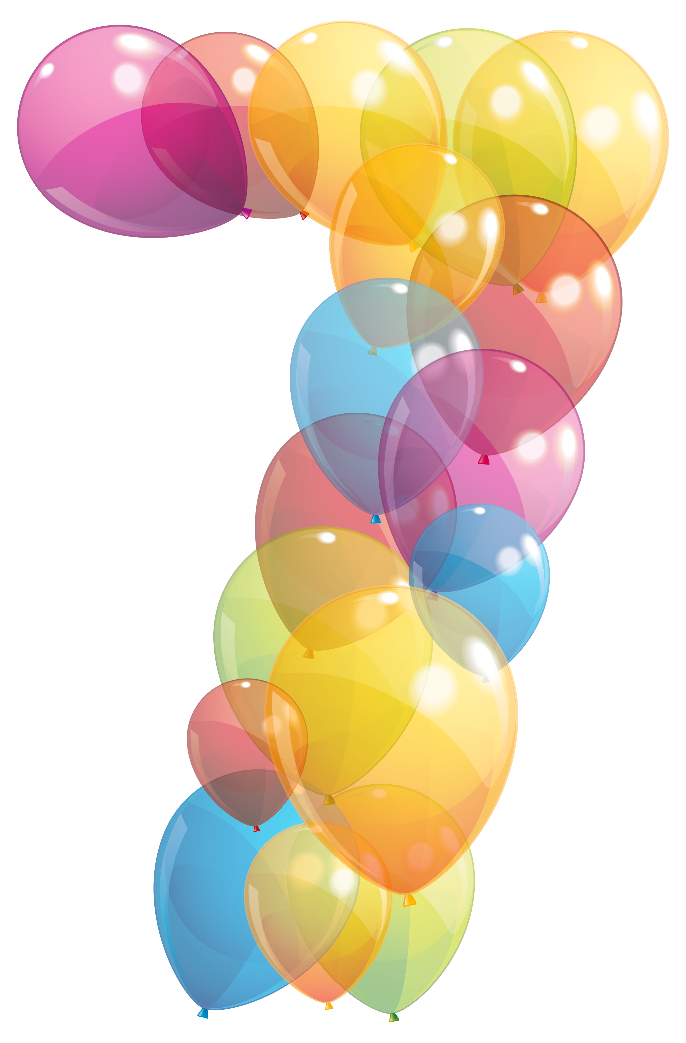 Transparent seven of balloons. Clipart balloon number