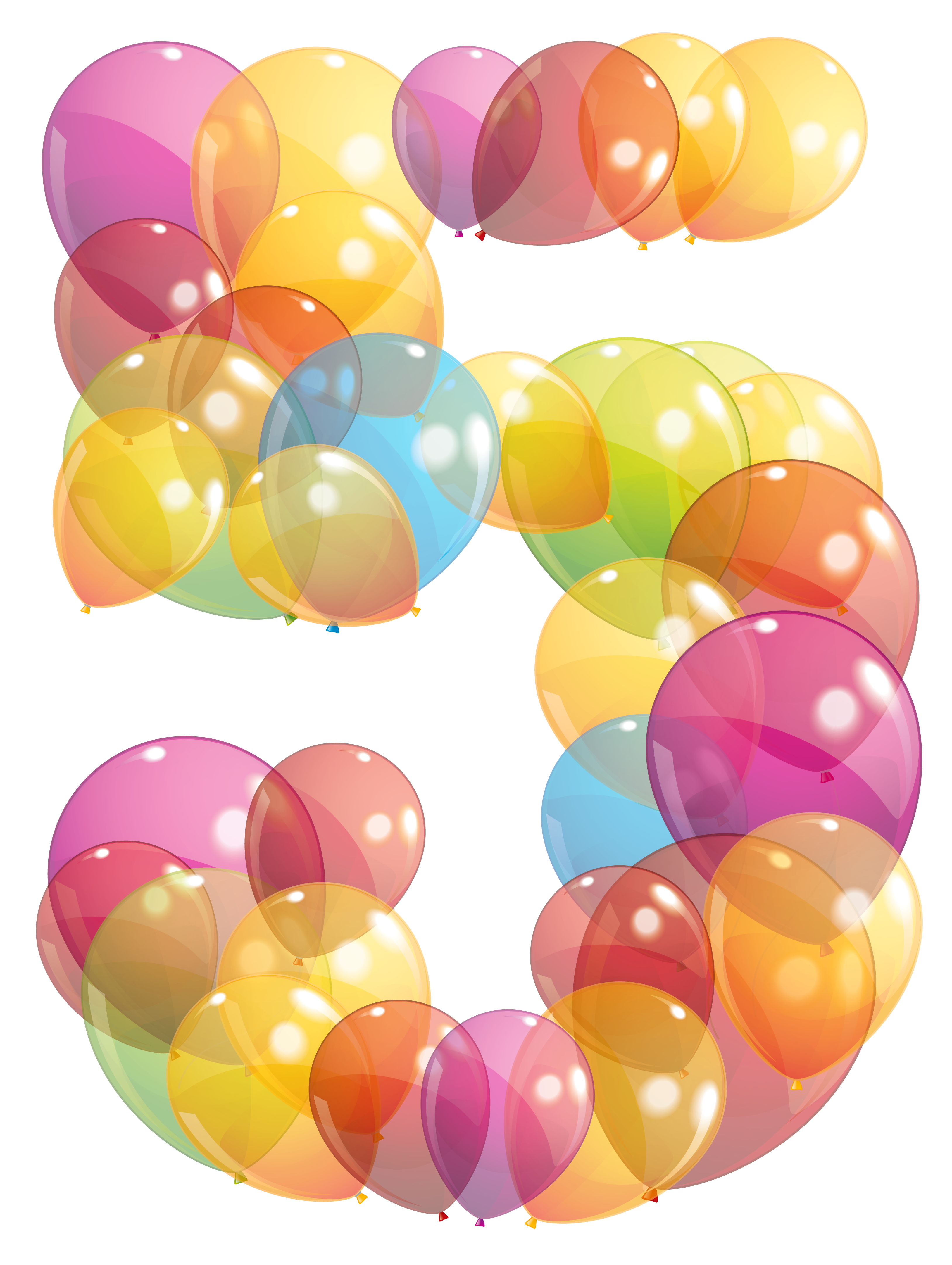 Transparent five of balloons. Clipart balloon number