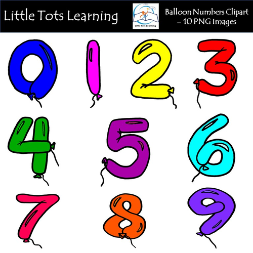Clipart balloon number. Numbers commercial use