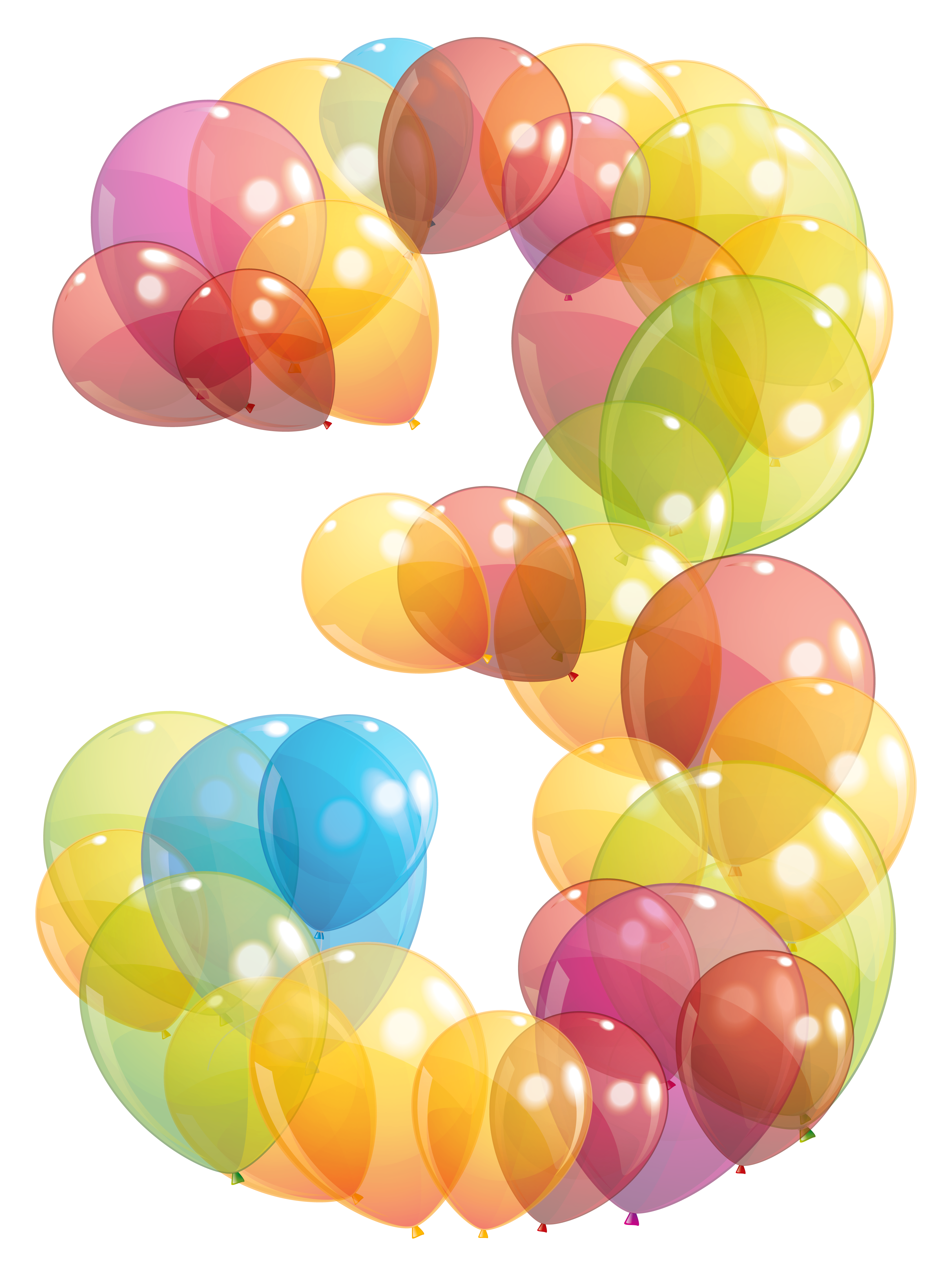 Clipart balloon number. Transparent three of balloons