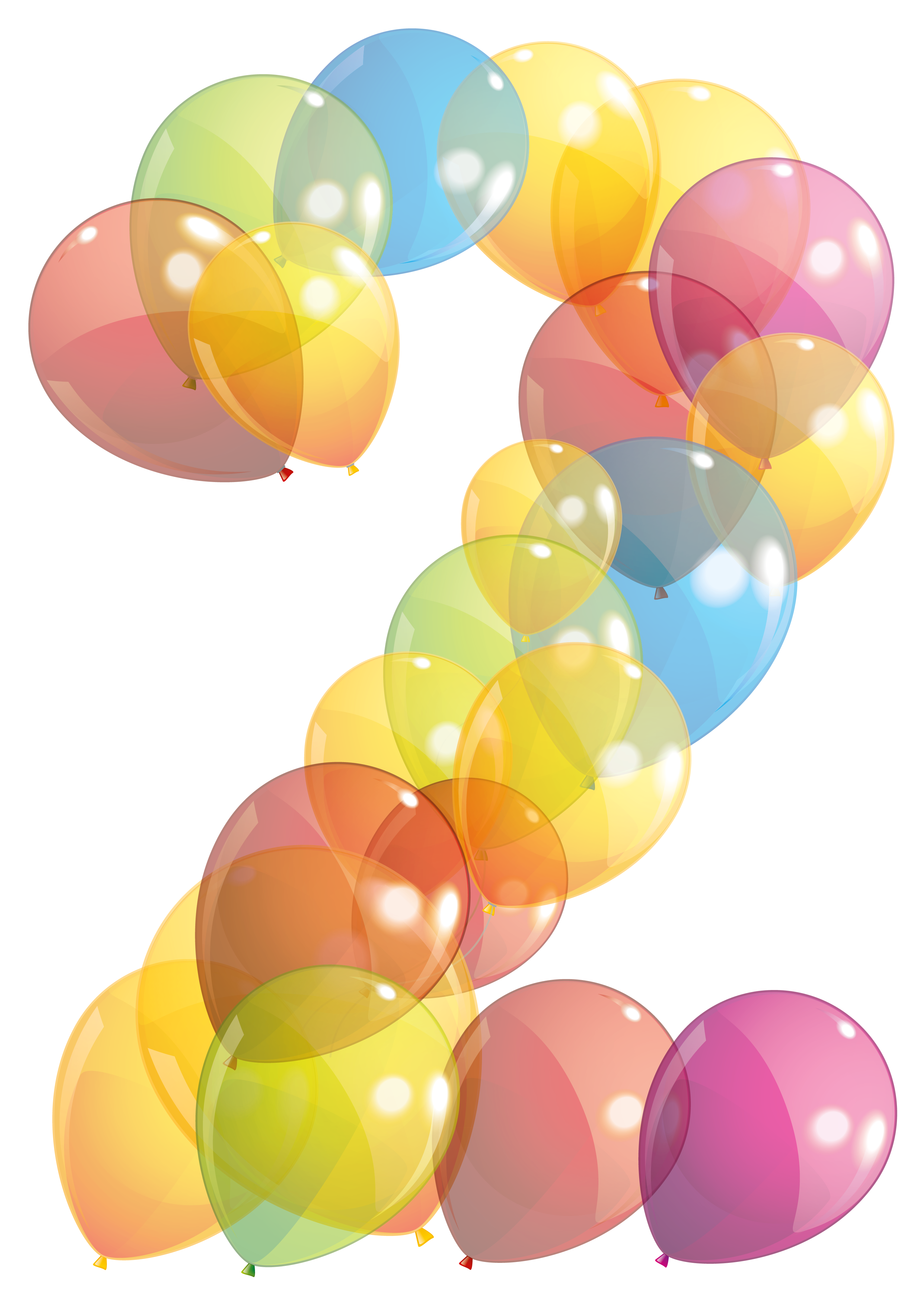 Clipart balloon number. Transparent two of balloons
