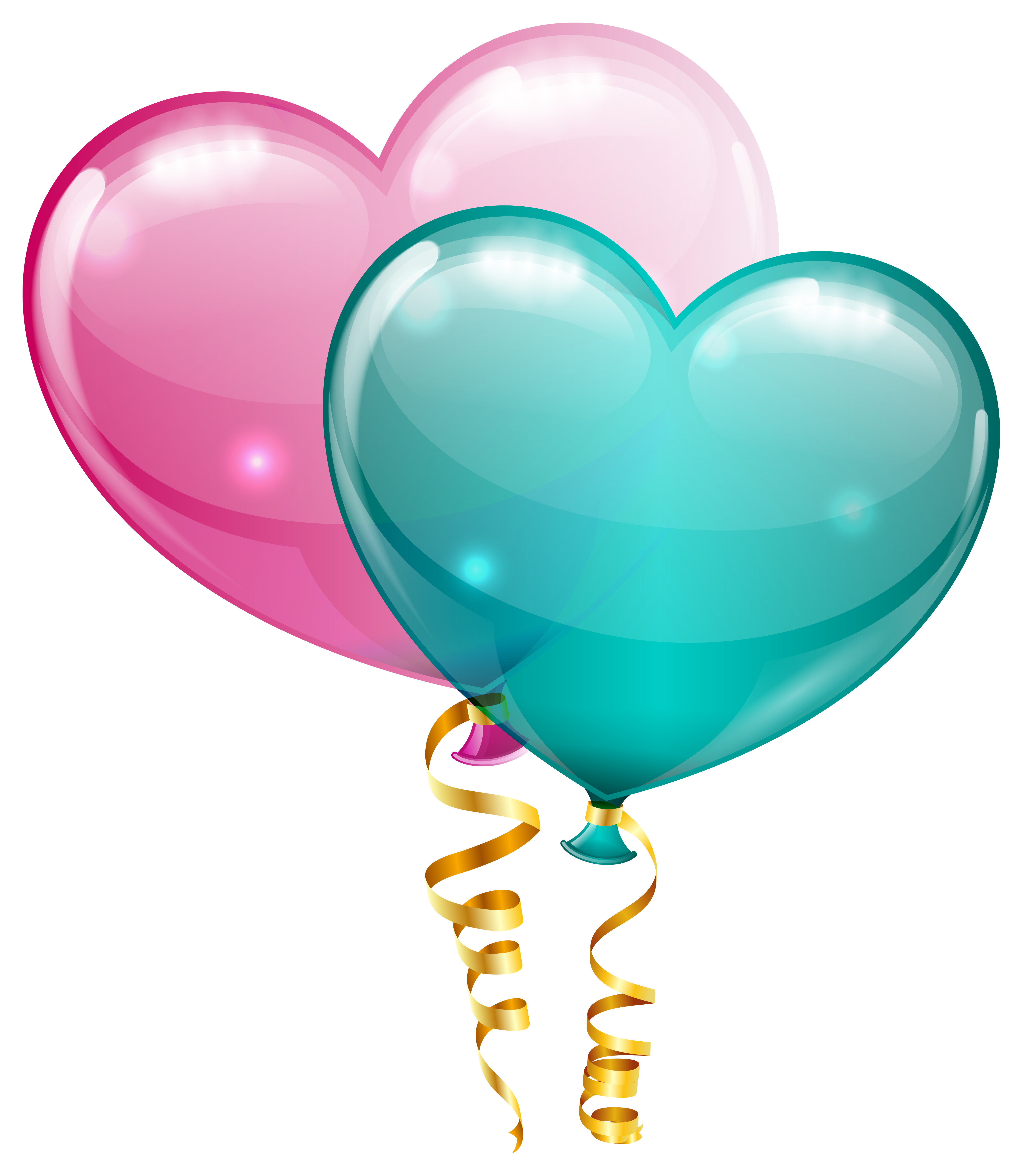 And blue heart balloons. Clipart balloon pink