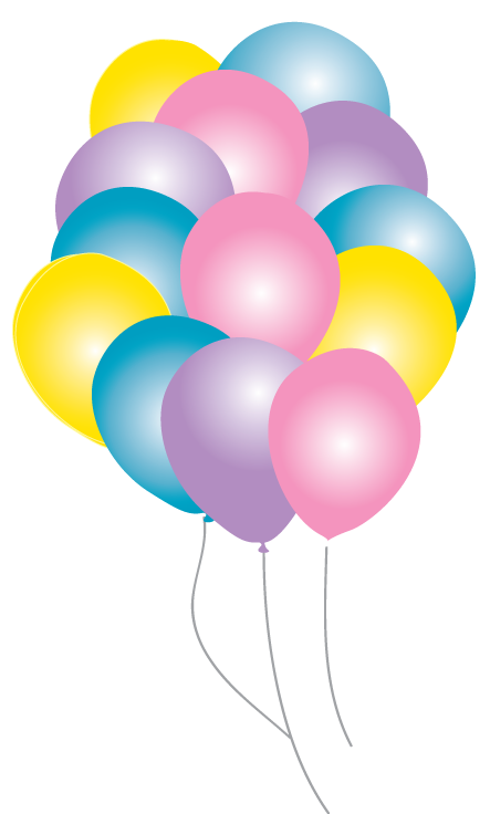 Fairytale balloons party pack. Clipart balloon princess