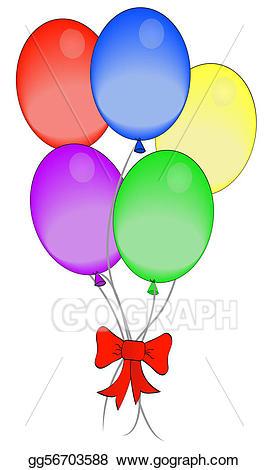 Drawing bright colored balloons. Clipart balloon ribbon
