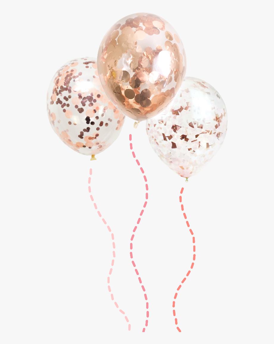 Balloons rosegold confetti decoration. Clipart balloon rose gold