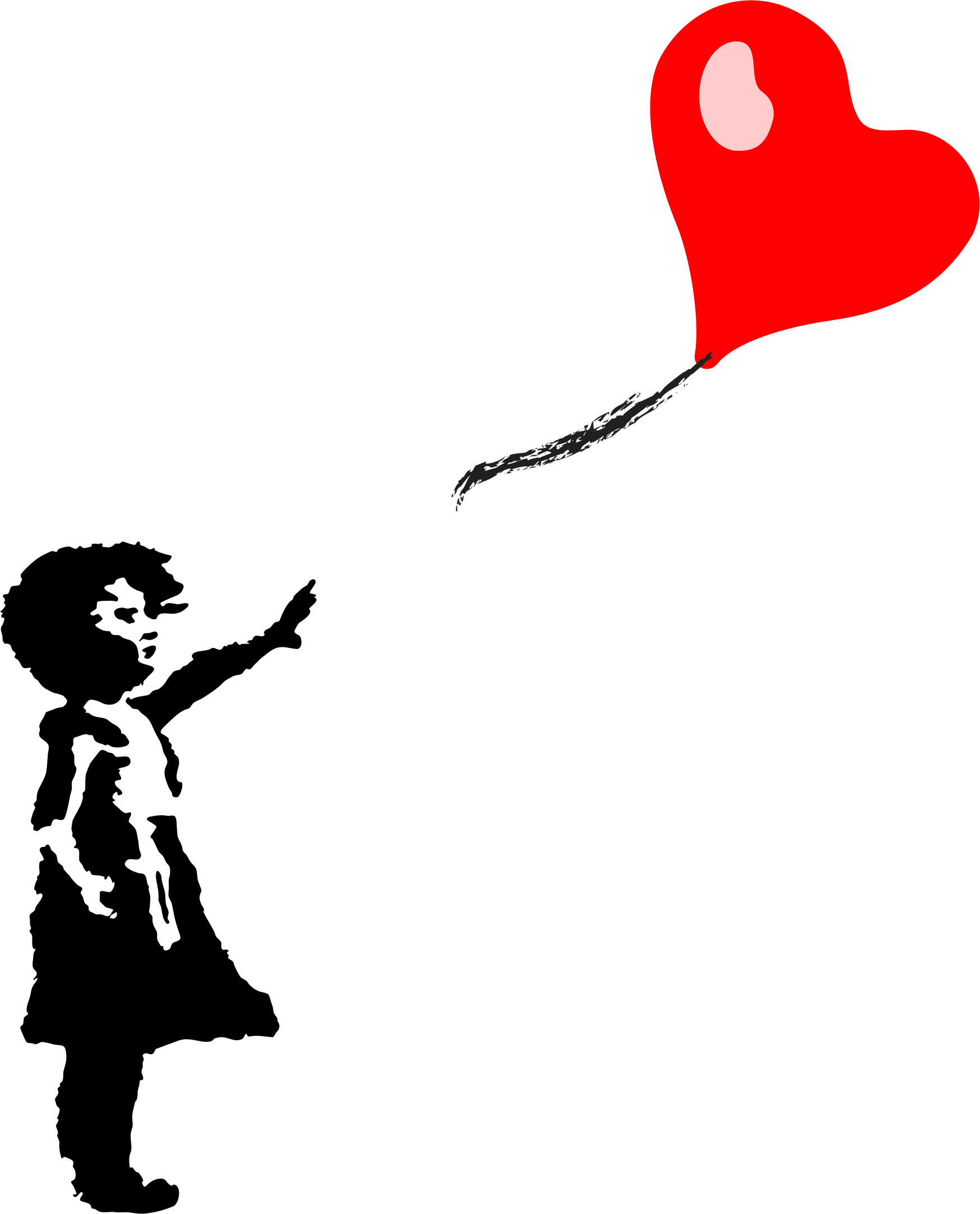 Little girl and heart. Clipart balloon silhouette