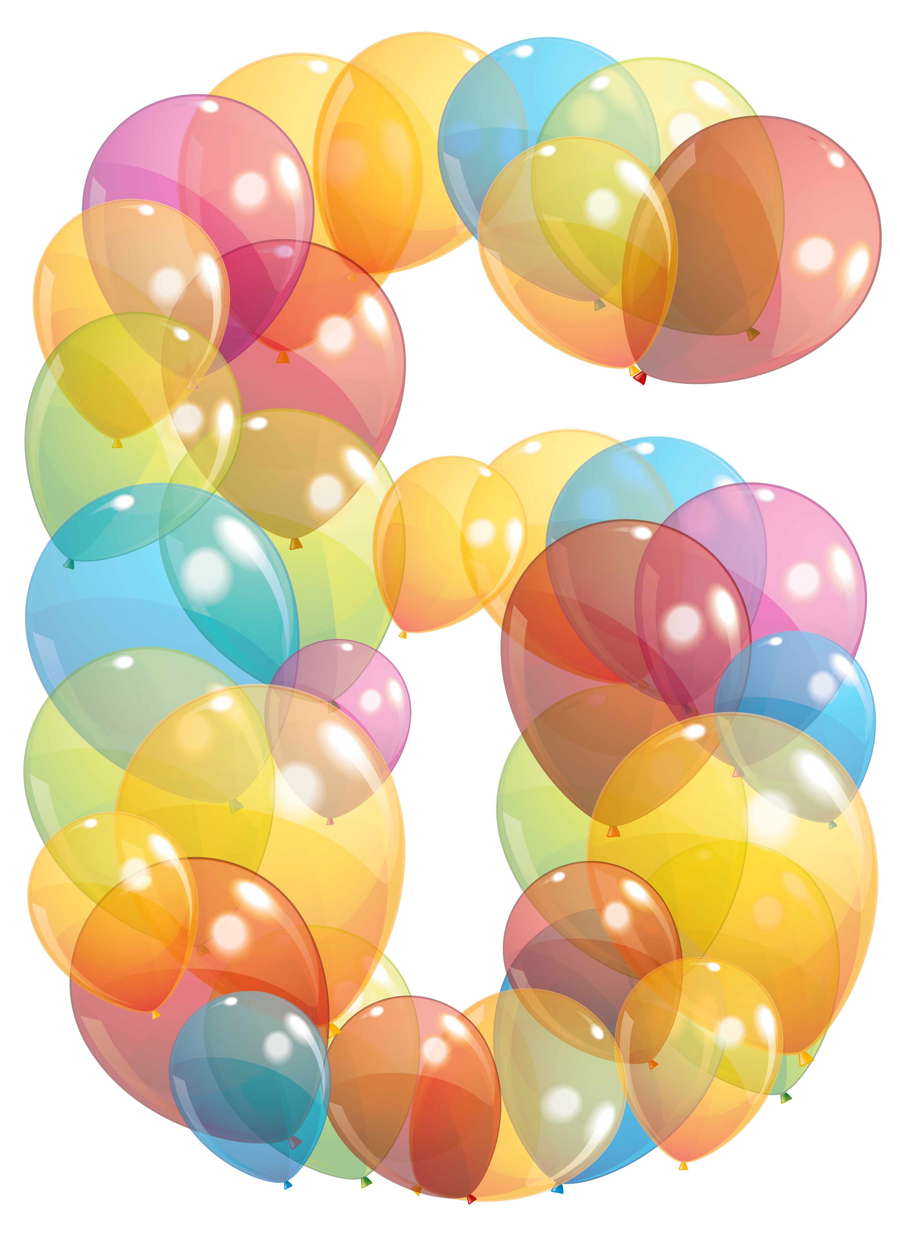Six number of balloons. Marbles clipart transparent