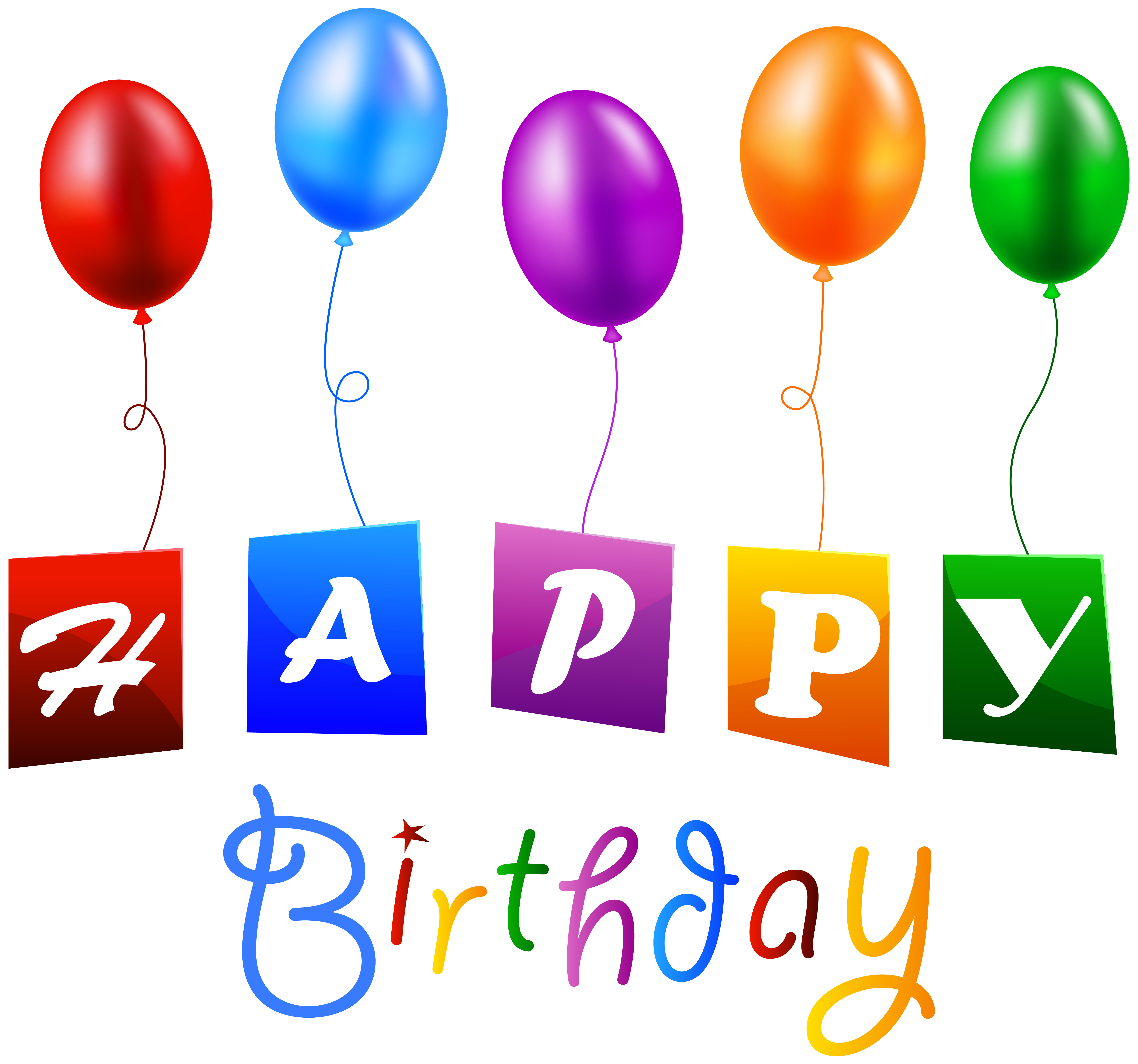 Happy birthday with balloons. Clipart balloon spring