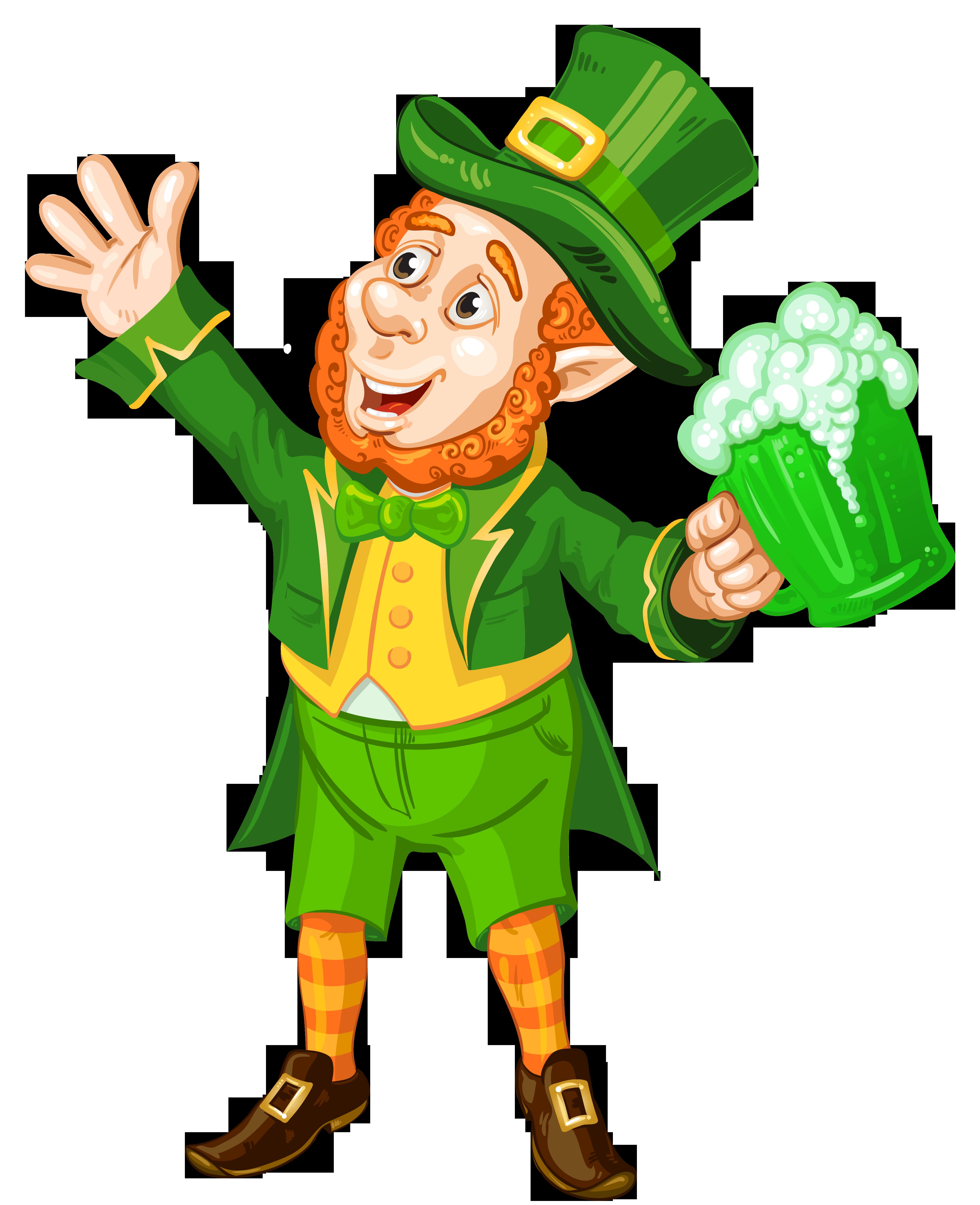 Patrick leprechaun with green. Clipart balloon st patrick's day