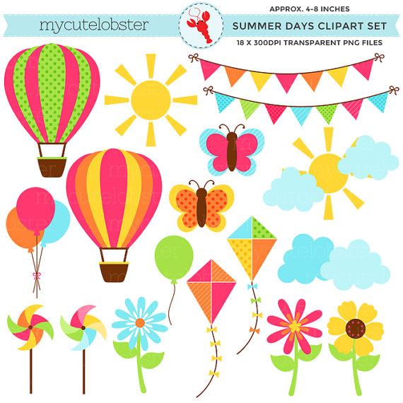 Clipart balloon summer. Days set clip art
