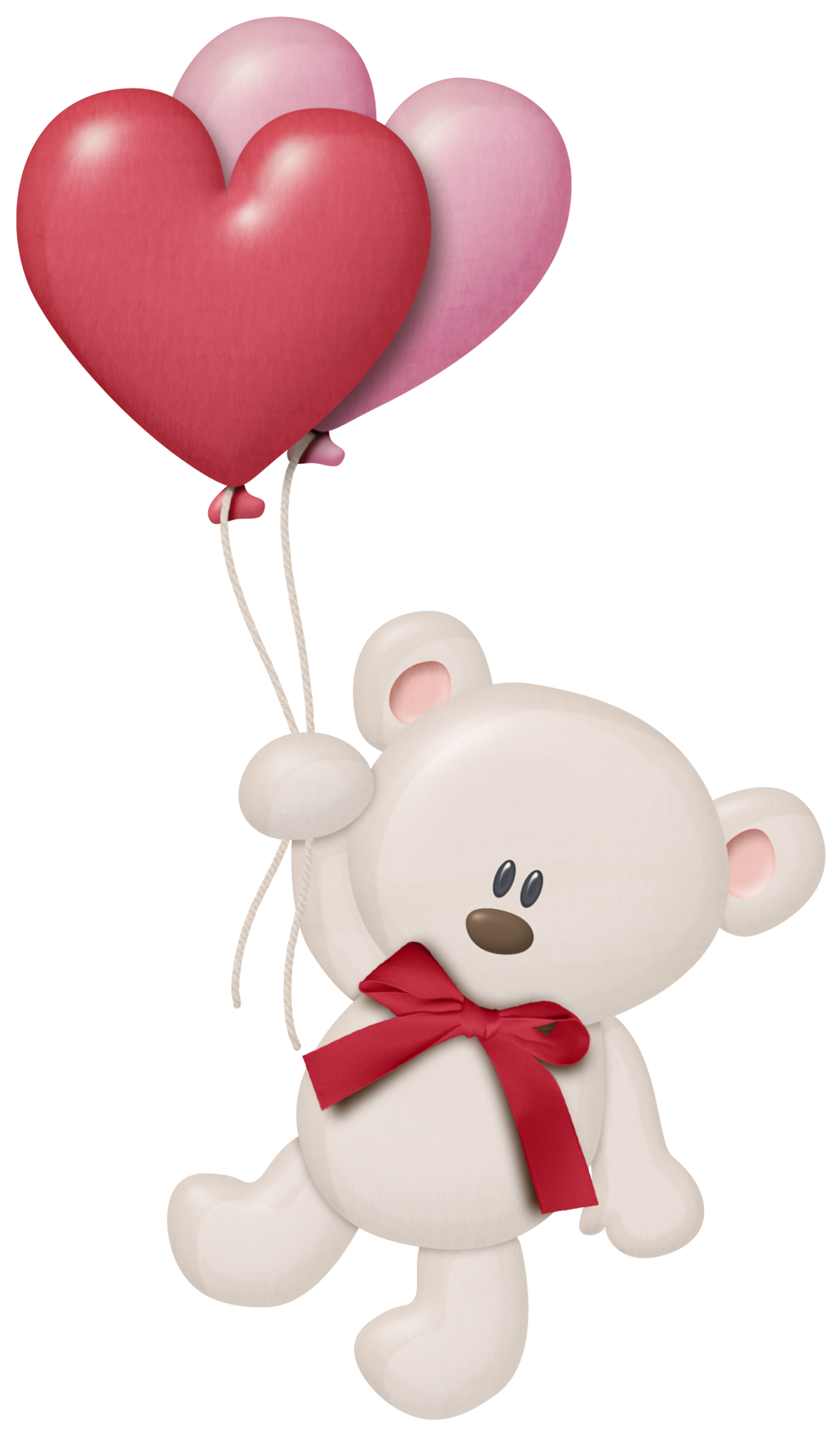 White teddy with heart. Clipart balloon valentines