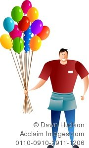 Clipart balloon vendor. Illustration of a man