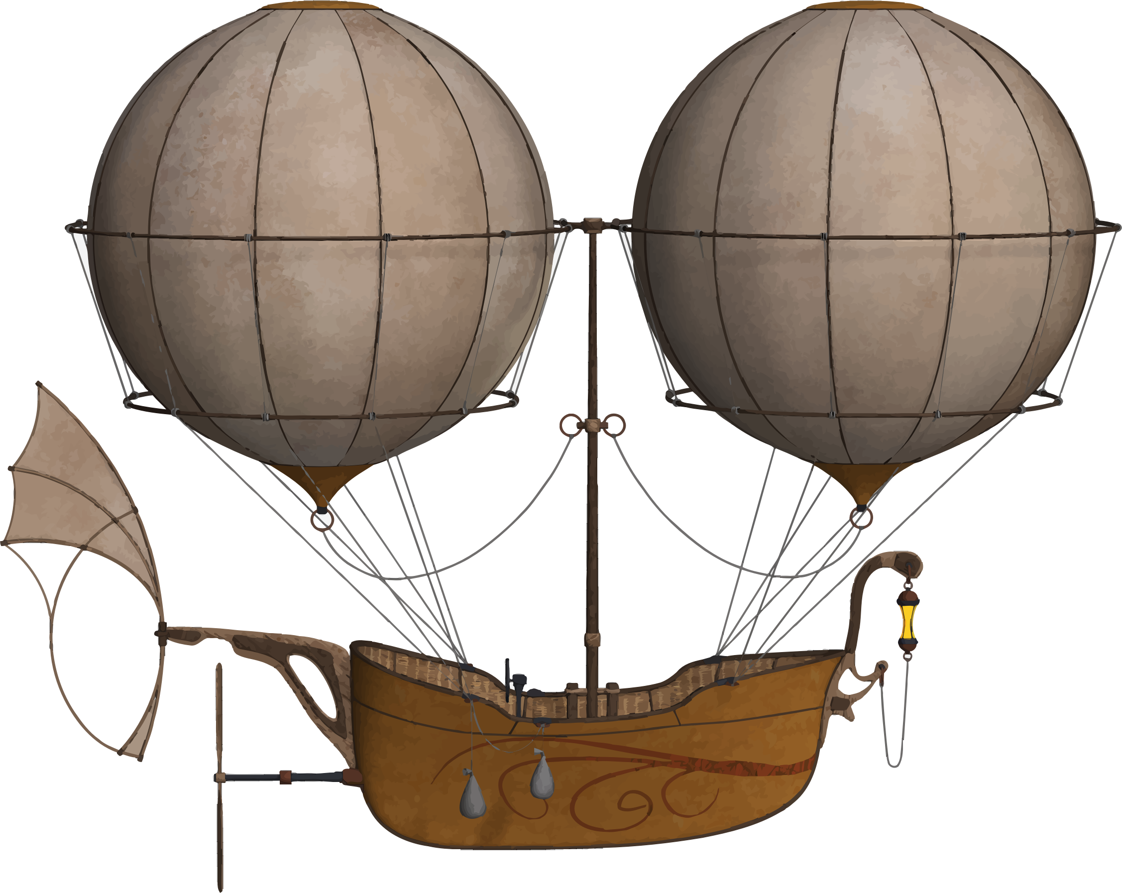 Air ship big image. Clipart balloon vintage