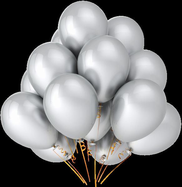 Clipart basketball grey. Transparente prata balloons clipe