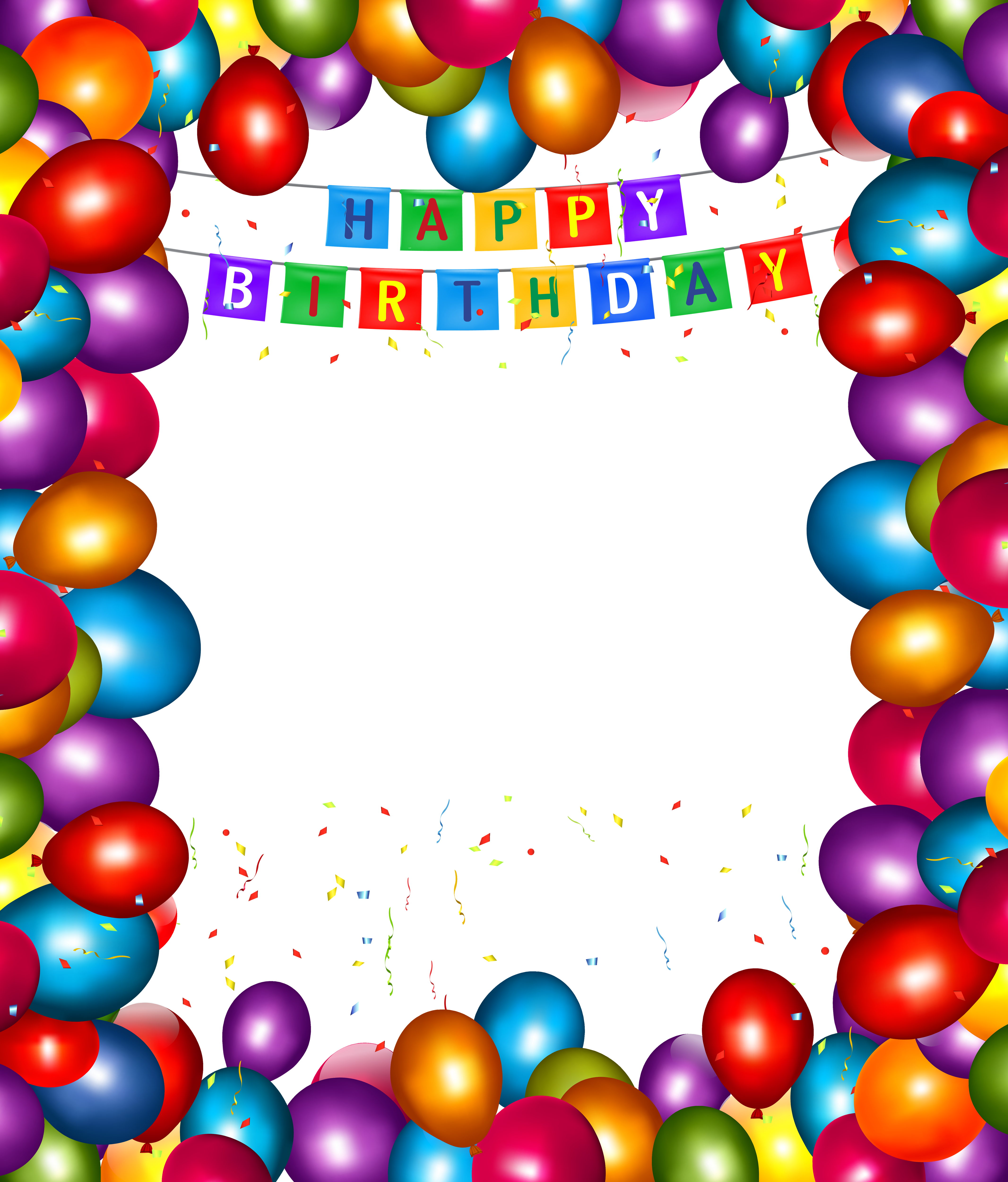Happy birthday transparent balloons. Clipart fall frame