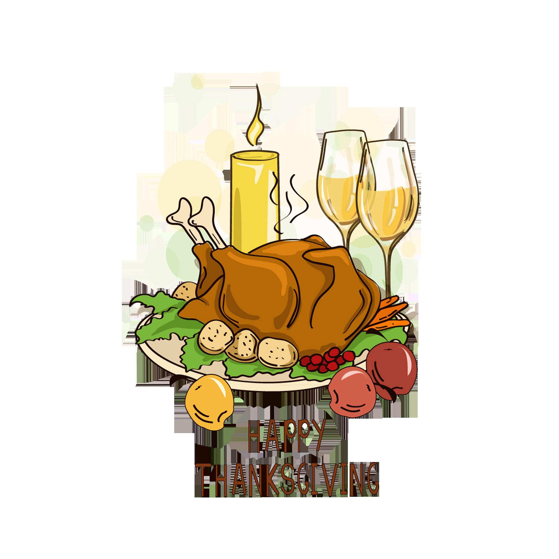 Thanksgiving turkey meat cartoon. Dinner clipart dinner drink