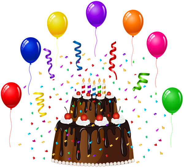 Birthday cake with and. Confetti clipart green streamer