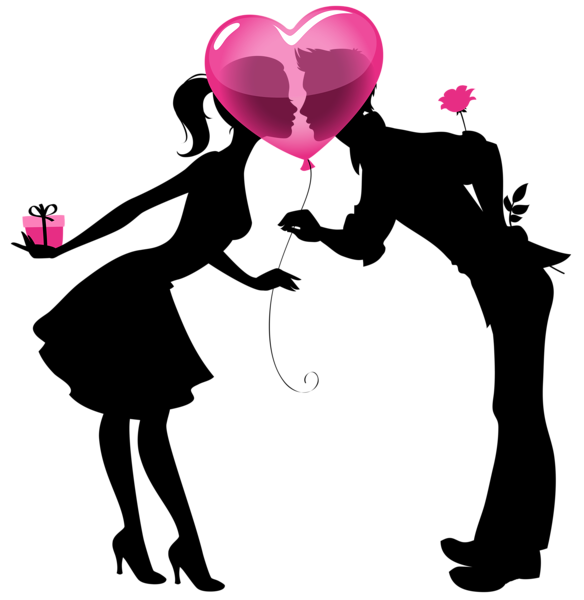 Doctor clipart couple. Valentine silhouettes with heart