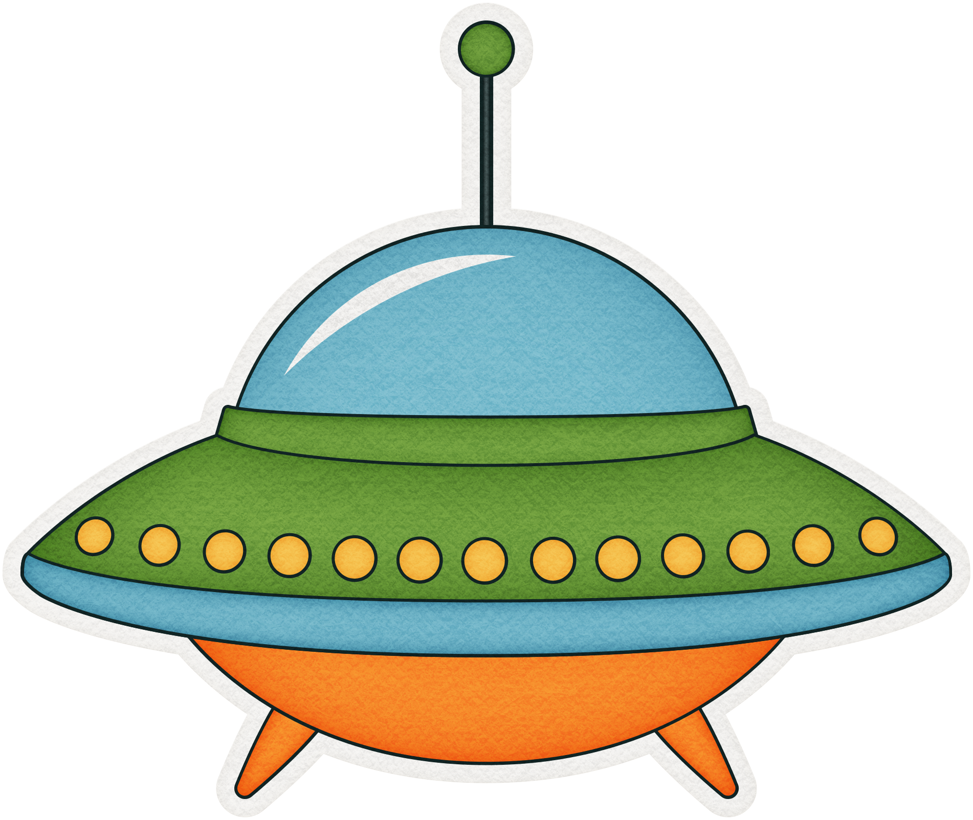 Cartoon unidentified flying object. Peach clipart colored